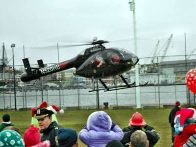 Santa Arriving by Chopper